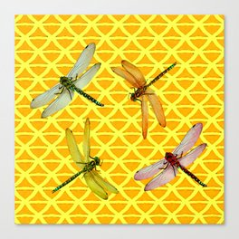 DRAGONFLIES PATTERNED YELLOW-BROWN ORIENTAL SCREEN Canvas Print