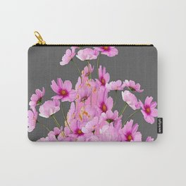 FUCHSIA PINK COSMOS GREY FLORAL DESIGN Carry-All Pouch