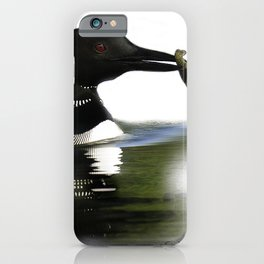 Northern Loon with Crayfish, Illustration iPhone Case