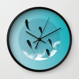 Fish Emerge from the Ice Wall Clock