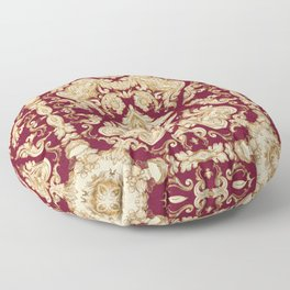 A Modern Vintage Dream (ruby red background) Floor Pillow