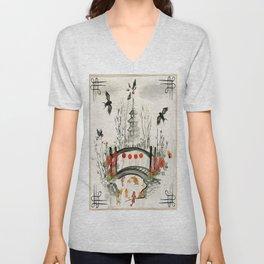 Oriental Garden Unisex V-Neck