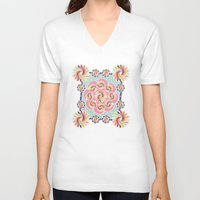 quilt V-neck T-shirts featuring Mandala Quilt by Helene Michau