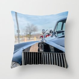 Vintage Car // Rolls Blue Paint Hood Ornament Silver Grille Classic Throw Pillow