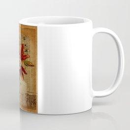 elegant girly lily flower newspaper print  black red corset Coffee Mug