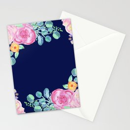 light pink peonies with navy background Stationery Cards