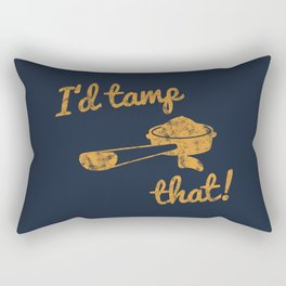 I'd Tamp That! (Espresso Portafilter) // Mustard Yellow Barista Coffee Shop Humor Graphic Design Rectangular Pillow