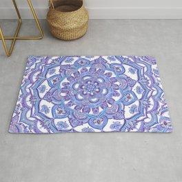 Lilac Spring Mandala - floral doodle pattern in purple & white Rug