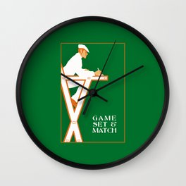 Game set and match retro tennis referee Wall Clock
