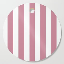 Puce violet - solid color - white vertical lines pattern Cutting Board