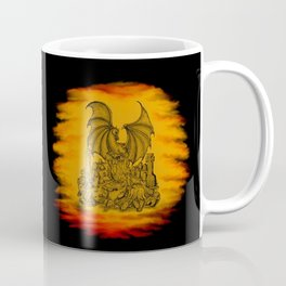 Zombie with Dragon on the Cemetery black and yellow Coffee Mug