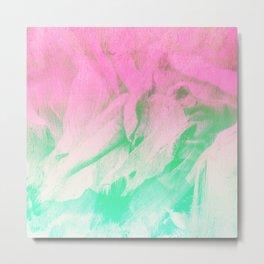 Modern neon pink teal watercolor brushstrokes Metal Print