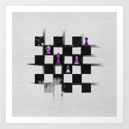 Chessboard and Amethyst  Chess Pieces composition Art Print