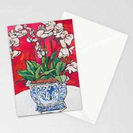 Orchid in Blue-and-white Bird Pot on Red after Matisse Stationery Cards