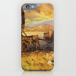 Abandoned trains in the Salar de Uyuni at sunset- Bolivia iPhone Case