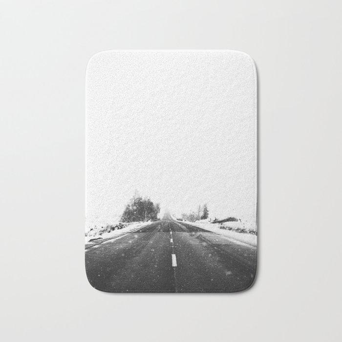 SNOW - WHITE - ROAD - WAY - TRIP - ADVENTURE Bath Mat