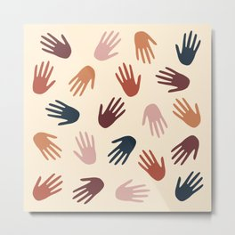 Hands Pattern blue Metal Print