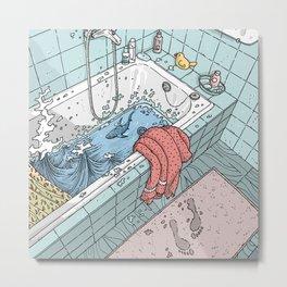 There's a shark in my bathtub - water footprints - rubber duck - Towel -Bath mat Metal Print