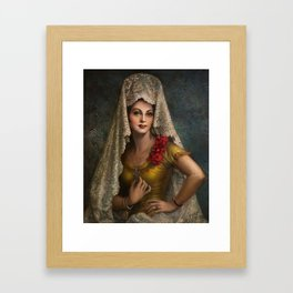 Spanish Beauty with Lace Mantilla and Comb by Jesus Helguera Framed Art Print