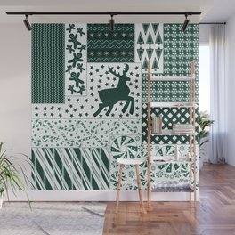 Holiday Green Quilt Design Wall Mural