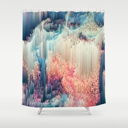 Fairyland - Abstract Glitchy Pixel Art Shower Curtain