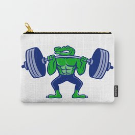 Alligator Lifting Heavy Barbell Mascot Carry-All Pouch
