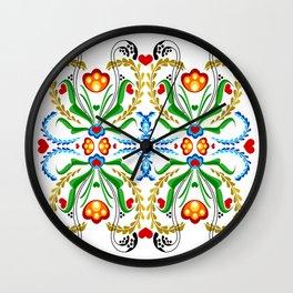 Scandinavian Folk Art ~ Tulip Mosaic Wall Clock
