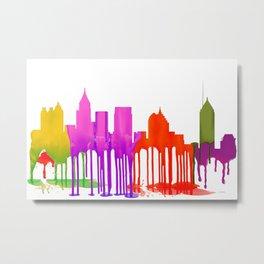 Atlanta, Georgia Skyline - Puddles Metal Print