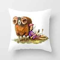depression Throw Pillows featuring Bucolic depression by Maria Manoura