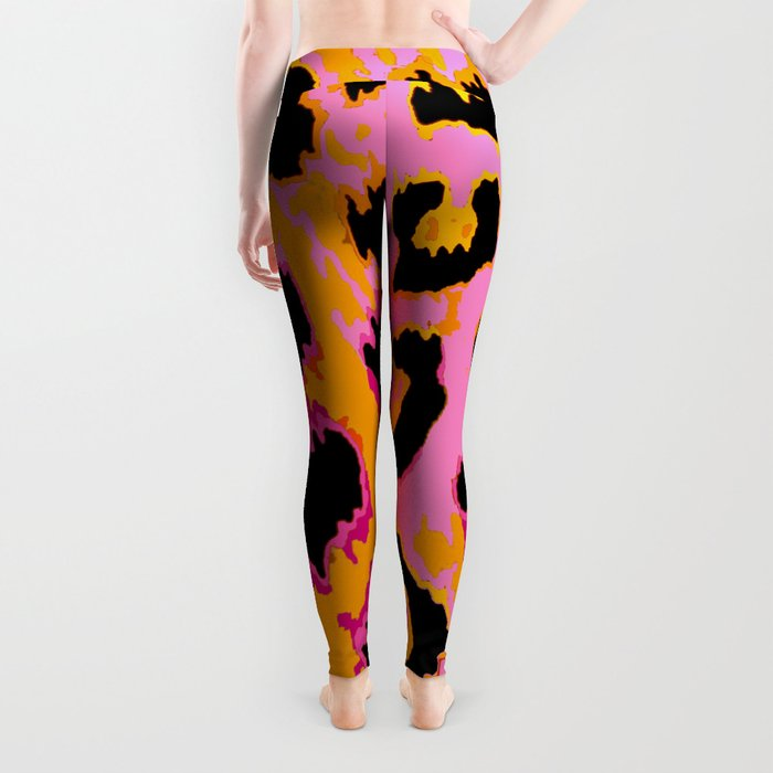 Gold and Pink Leopard Spots Leggings
