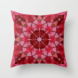 Red autumn leaves kaleidoscope - Cranberrybush Viburnum Throw Pillow
