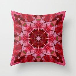 Red autumn leaves kaleidoscope - Cranberrybush Viburnum Throw Pillow