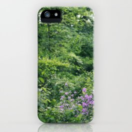 Purple Flowers Growing in the Forest iPhone Case