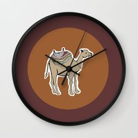 camel Wall Clocks featuring camel by johanna strahl