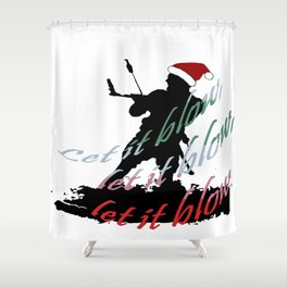 Let It Blow Christmas Holiday Kiteboarding Sport Shower Curtain