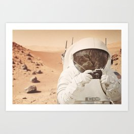 Astronaut Cat on Mars Art Print