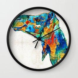 Colorful Camel Art By Sharon Cummings Wall Clock