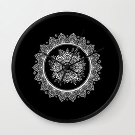 Bohemian Lace Paisley Mandala White on Black Wall Clock
