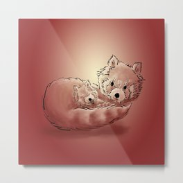 Red panda mother and child Metal Print