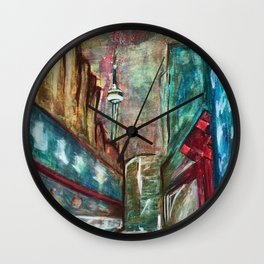 City,original painting,oil,canvas,Toronto,cityscape,abstract,art,perspective,wall artwork,colourful, Wall Clock