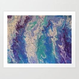 The Great Blue Waves acrylic pouring painting Art Print