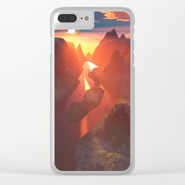 Sunset at the canyon Clear iPhone Case