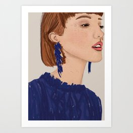 Navy blue chic girl Art Print