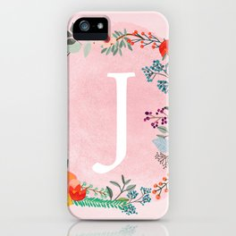 Flower Wreath with Personalized Monogram Initial Letter J on Pink Watercolor Paper Texture Artwork iPhone Case
