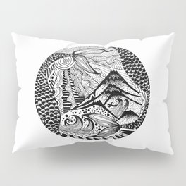 Ink drawing Zodiac Pisces Pillow Sham