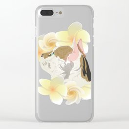 Plumeria and Purrs Clear iPhone Case