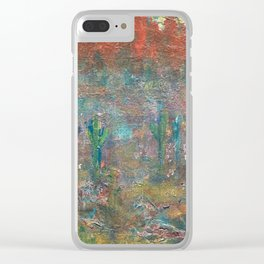 Abstract cactus red mountains Clear iPhone Case