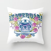 skateboard Throw Pillows featuring Skateboard print by Komiksar