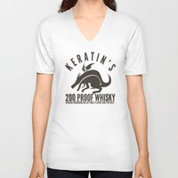whisky V-neck T-shirts featuring Keratin's Dragon Distilled Whisky by critjuice