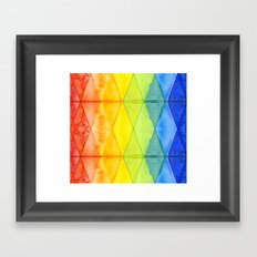 Geometrict Abstract Rainbow Watercolor Pattern Framed Art Print
